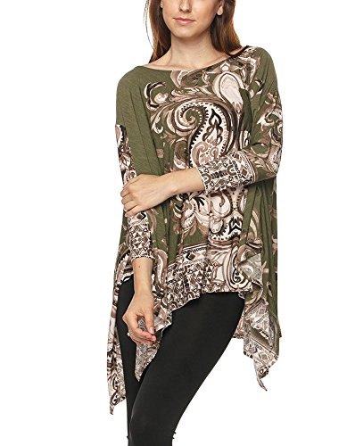 Tendzi Trends Plus Size Pocket Detail Border Print Tunic Top (3X)