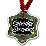 Christmas Ornament Floral Border Caturday Everyday - Neonblond