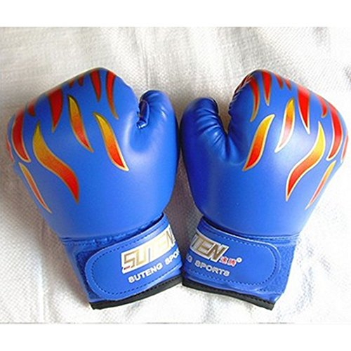 BreaDeep Children Kids Leather Boxing Gloves for Training Sparring Show/ Performances, Age 3-12 Years Old (Blue)