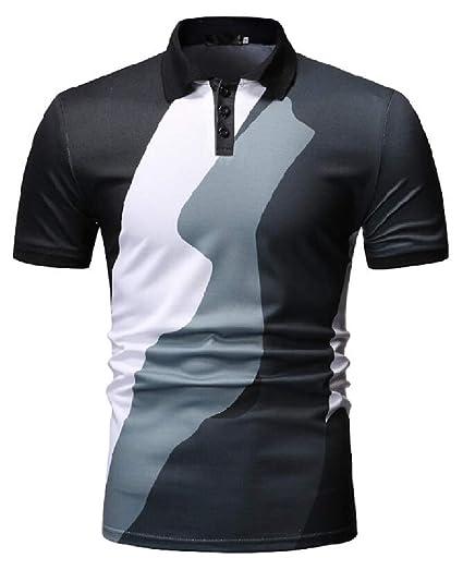 787c2555d9e KLJR Men Plus Size Sport Summer Short Sleeve Casual Turn Down Collar Vogue Golf  Polo Shirt