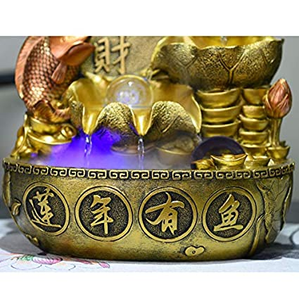 Sculptures Tabletop fountain,Tabletop decorative Treasure pot water decoration Lotus water fountain To recruit feng shui wheel Indoor transshipment ball Household decorations Business gift-A 12.6inch