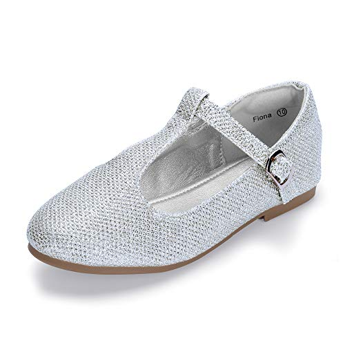 (Hehainom Toddler/Little Kid Girl's Fiona Ballet Flats T-Strap Mary Jane Dress Shoes School Uniforms (Silver Glitter, 7 M US Toddler))