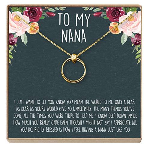 Dear Ava Nana Gift Necklace: Nana Jewelry, for Grandma, Mimi, 2 Linked Circles (Gold-Plated-Brass, NA)