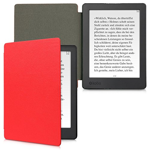 kwmobile Flip cover case for Kobo Aura H2O Edition 2 - imitation leather foldable case in red by kwmobile (Image #5)