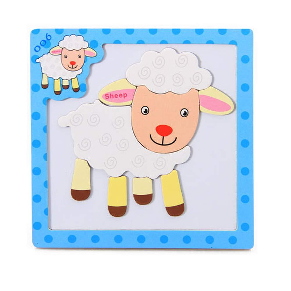 Cinhent Toys, 3歳以上 年齢 子供 赤ちゃん 木製 動物 コグニッション パズル 数字 スマート 学習 教育玩具 脳の早期発達の贈り物 15 * 15 * 0.5cm マルチカラー Cinhent -5630041251240  I:lamb B07GTTSKQC