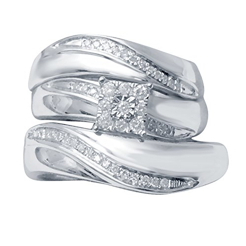 Silvercz Jewels Mens & Ladies 14k White Gold Fn 1.2 Ct Diamond Engagement Wedding Ring Trio Set