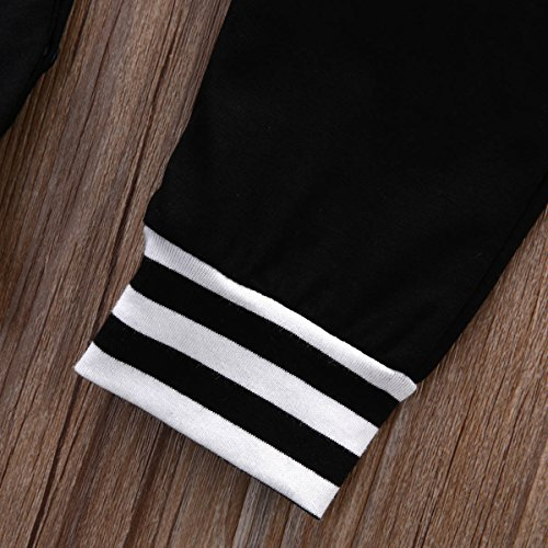 Newborn Baby Girls Boys Stripe Hooded Romper Onesie Jumpsuit (70/ 0-6 Months, Black)