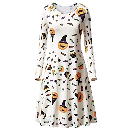 Ladies Halloween Dresses Promotion! Womens Girls Pumpkins Skull Spider Bat Print Halloween Evening Prom Costume Swing Dress(White A,S)
