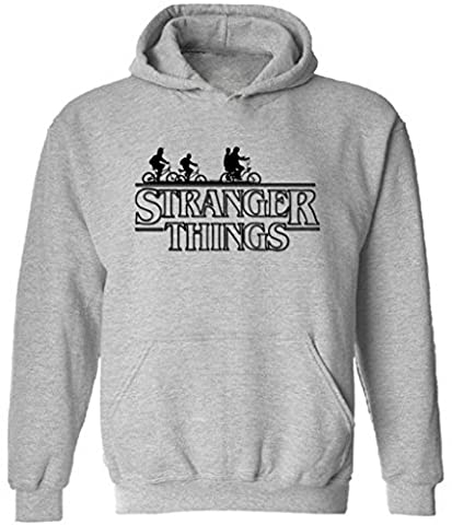icustomworld Stranger Things Ride Bike Hoodie Netflix Series Hooded Sweatshirt L Gray - Thing Mens Hoodie