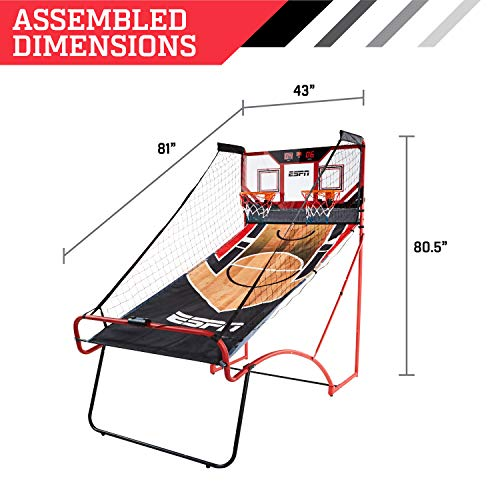 ESPN EZ Fold 2 player Basketball Game with Polycarbonate Backboard and LED Scoring by ESPN (Image #2)