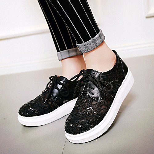 Show Shine Womens Fashion Lace Mesh Sequins Oxfords Flats Shoes Black L9coJ1tPwA