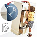 FitinKid Furniture Straps Baby Proofing Anti Tip Furniture Anchors Kit, Cabinet Wall Anchors Protect Toddler from Falling Furniture, Adjustable Child Safety Straps Earthquake Resista (10 Pack)