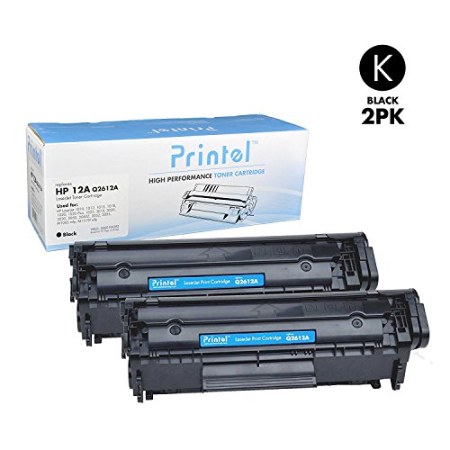 Printel Compatible Tone Cartridge for HP 12A Q2612A 2-Pack High Yield, 2 Black Use with HP LaserJet 1020 1012 1022 1010 1018 1022n Printer