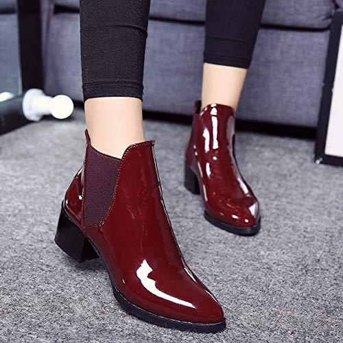 Femme Pluie Basket Mode Bottines Sneakers Chaussure Court En Hiver Boots Zezkt Pu De Sport Impermeables Chaudes Classiques Bordeaux Bottes 45OCn6wq