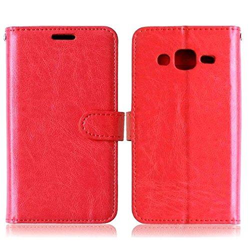 JIALUN-Personality teléfono shell Funda de cuero de la PU del color sólido de Samsung Galaxy J2 con cubierta de la caja de Kickstand magnética de la cubierta del silicón para Samsung J2 Seguridad y Mo Red