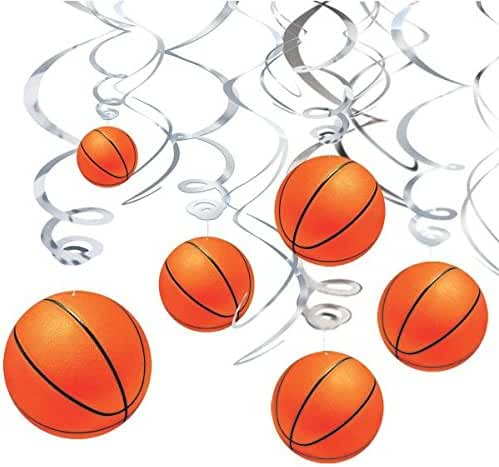 Basketball Dream Birthday Party Hanging Swirl Ceiling Decorations, Paper, Pack of 12
