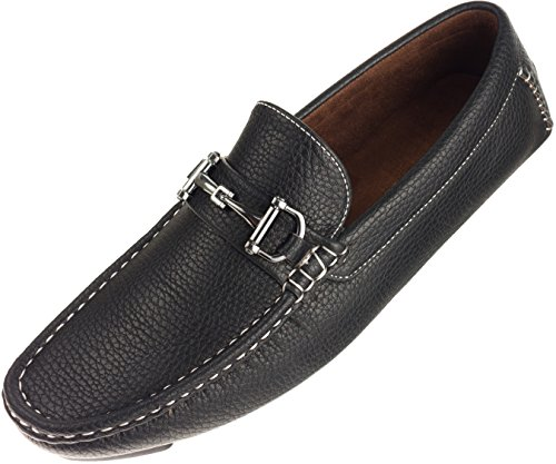 Amali Mens Casual Driving Moccasin Loafer in Black Pebble Grain With Silver Ornament: Style 1407 Black-000 11 D (M) US