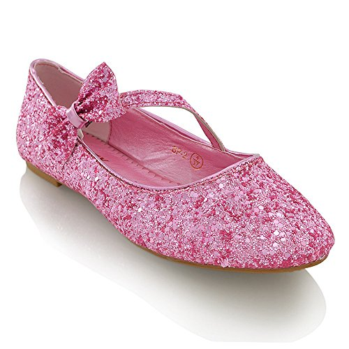 NEW WOMENS PUMPS FLAT BOW GLITTER LADIES BALLET BALLERINA DOLLY BRIDAL SHOES SIZE 3-9 PINK GLITTER cKmQ80qu1d