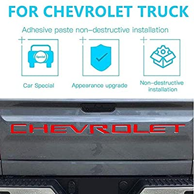 Tailgate Inserts Letters for 2020 2020 Chevrolet Silverado, 3D Raised & Strong Adhesive Decals Letters, Tailgate Emblems Inserts Letters (Red): Automotive