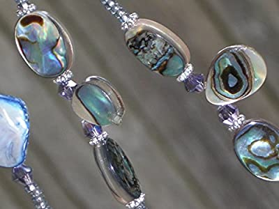 Abalone Mother of Pearl Beaded Eyeglass Chain Holder Necklace Original Design 28 inches
