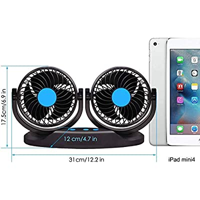 Car Fan 12V Vehicle Fan, 5inch Truck Cooling Fan with LED Display Temperature & Humidity, 12 Speeds and 360 Rotatable for Car Truck Van SUV RV Boat Auto Vehicles Golf: Kitchen & Dining