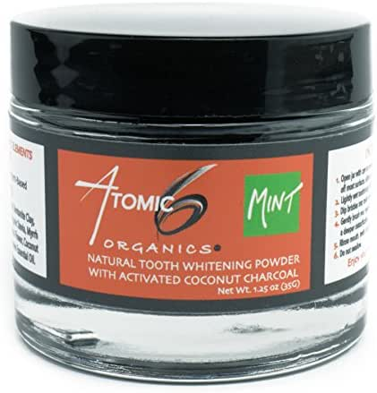 Atomic 6 Organics Natural Tooth Powder-Activated Coconut Charcoal-Remineralizing Bentonite Clay-Prevent Decay-Daily Dental Care-Brush with Herbal Mint Cleaning Powder for Healthy Smile and Gums