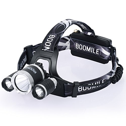 Rechargeable Headlamp, LED Headlight Super Bright Head Torch, 6000 Lumens Waterproof Head Lamp with 4 Brightness Modes, Perfect for Running Camping Outdoor Hiking and ()