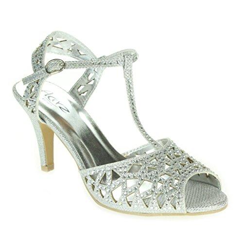 Mujer Señoras Diamante T-Bar Peep Toe Correa de tobillo Tacón medio Noche Fiesta Boda Paseo Sandalias Zapatos Talla Plata