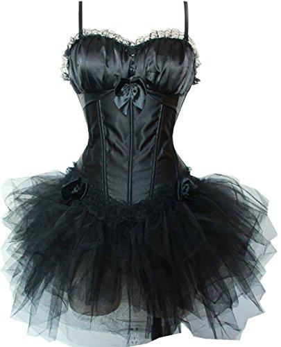 Vacodo Vintage Performance Black Costume Corset Top and Mini Tutu Dress Set M - Corset Tutu