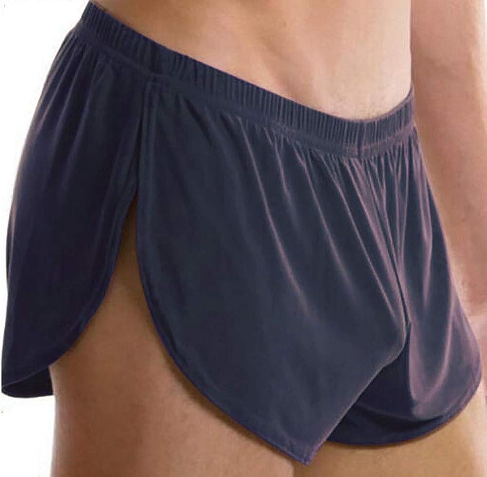 Pantalones De CháNdal Transpirables De Cintura Baja para Hombres Seda De Hielo Sexy Pantalones De Seda De Hielo De Color SóLido para Hombres