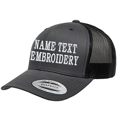 Embroidered Sweatshirt Custom - Custom Embroidered Snapback Hat Personalized Yupoong Embroidery Trucker Cap - Charcoal Black