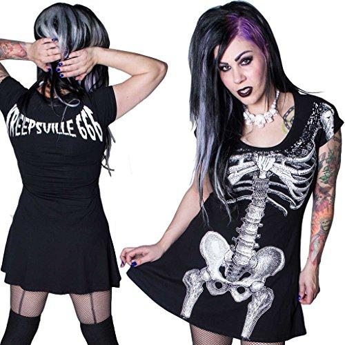 Manga Vestido Corta Skater Negro Para 666 Mujer Kreepsville CqPZpn