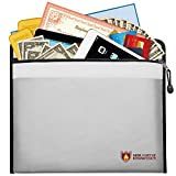 Simboom Fireproof Document Bag, Fire Water Resistant Money Bag Non-Itchy Silicone Coated Fireproof Safe Storage Bag Pouch with Zipper for Money, Documents, Jewelry and Valuables (15'' x 11'', Silver)