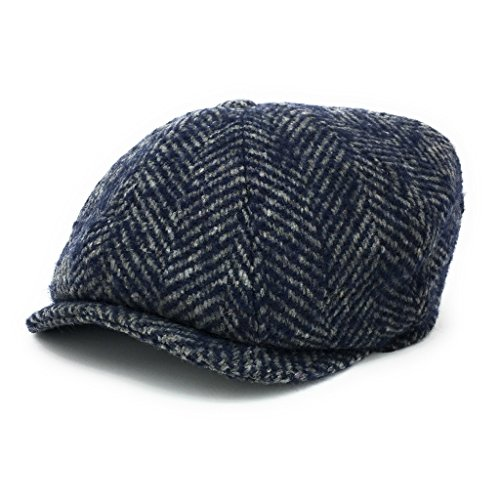 Chunky Tweed Hat - Chunky Herringbone Tweed 8-Piece Gatsby Newsboy Cap. 100% Wool. Quilted Lining. (Medium - 57cm, Navy/Grey)