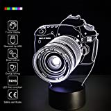 Camera 3D Night Light 7 Colors Change Night Light Touch Button Creative Design Decorative Lighting Effect Lamp (Camera)