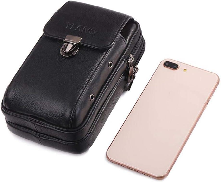 Mochila de Piel para Hombre con cinturón y Bolsa de Transporte para la Cintura, de Piel, para Viaje, para teléfono móvil, Cartera o Llave (Black4)
