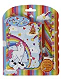 "'Lovely Writing Set ""Unicorn Luna Diary and Pencil & Eraser and Ruler"