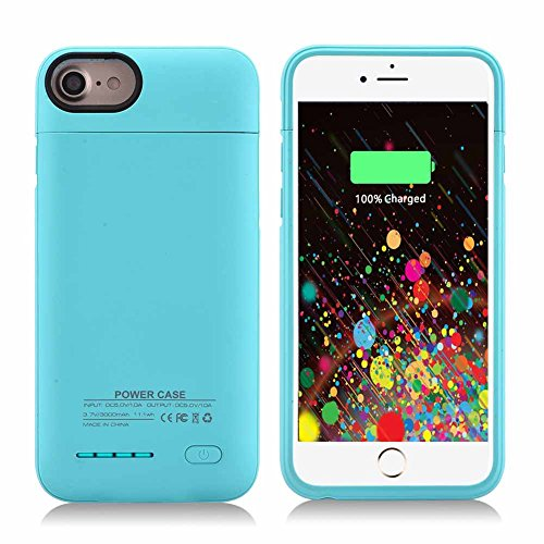 Kujian iPhone 7 Plus Battery Case,4200mAh Slim Charging Case with Free Screen Protector for Mag Mount External Charger Case 5.5inch for iPhone 8 Plus/ 7 Plus/ 6 plus/6S Plus(Turquoise)