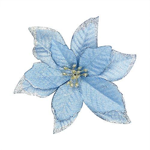 6Pcs 5 Inch Glitter Artificial Wedding Christmas Flowers XMAS Tree Wreaths Decor Ornament Blue