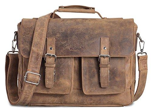 Packenger Kolbjorn Umhängetasche Messenger Bag bis 15 Zoll aus Leder Bolso bandolera, 38 cm, Marrón (Muskat-braun) Marrón (Muskat-braun)