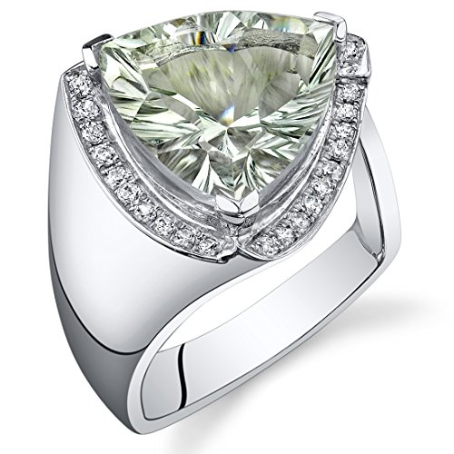 5.00 Carats Green Amethyst Ring Sterling Silver Concave Trillion Cut Size 6 ()