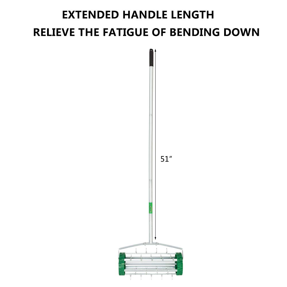 VINGLI Rolling Lawn Aerator with 51'' Handle, Push Spike Tine Roller for Home Garden Yard Patio Grass Soil Aeration, Roller Secured by Fasteners by VINGLI (Image #4)