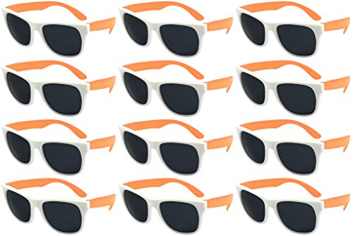 Edge I-Wear 12 Bulk 80s Party Sunglasses Neon Sunglasses for Adult Party Favors Wedding ()