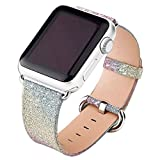 Kobwa 38MM/42MM Watch Band for Apple Watch, Night's Dream Twinkling Watchband Shiny Glitter WristBand with Silver Adapters Single Tour Replacement Bracelet Strap for IWatch Series 1&2