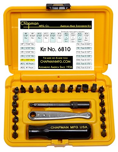 Chapman MFG 6810 Kit USA Made Allen Hex Kit + Torx/star Insert Bits hand tools Screwdriver Set by Chapman MFG