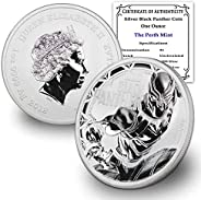 2018 TV Tuvalu 1 oz Silver Black Panther Marvel Series Coin Brilliant Uncirculated with Certificate of Authent