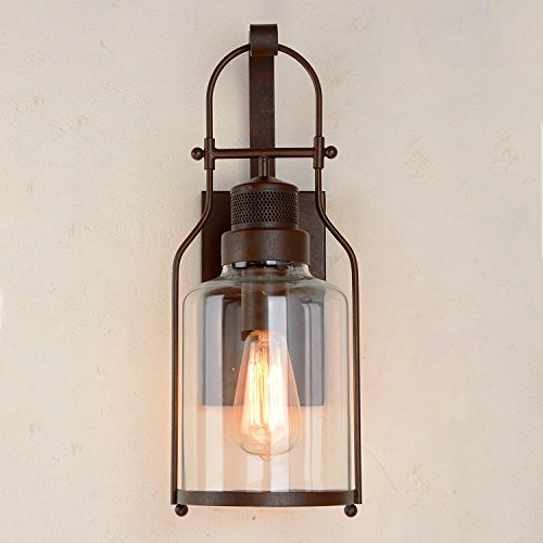 CEENWE Watson Retro Industrial Loft Lantern 1-Light Vintage Wall Sconce (Rust Metal) by CEENWE