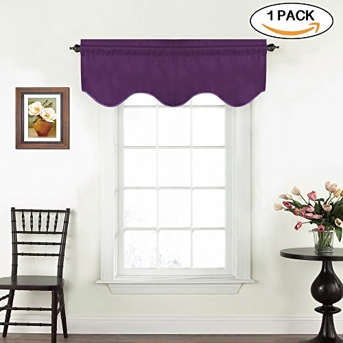 Window Treatment Curtain Valances Thermal Insulated Valance for Living Room/Bedroom, Rod Pocket Scalloped Valances for Kitchen/Bathroom, 1 Pack, Plum Purple, 52 x 18 - Inch