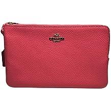 Coach Pebble Leather Double Zip Wristlet Wallet