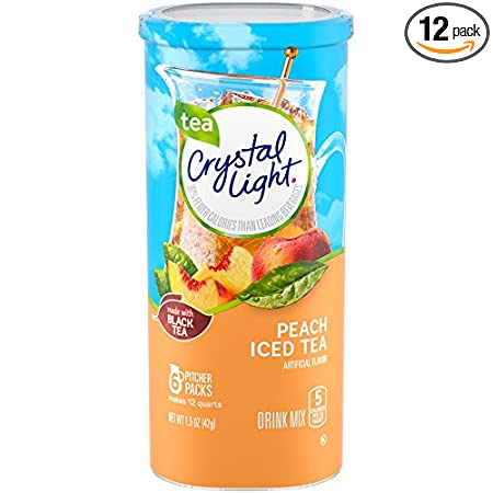 Crystal Light Drink Mix, Peach Tea, Pitcher Packets, 6 Count (Pack of 12 Canisters)